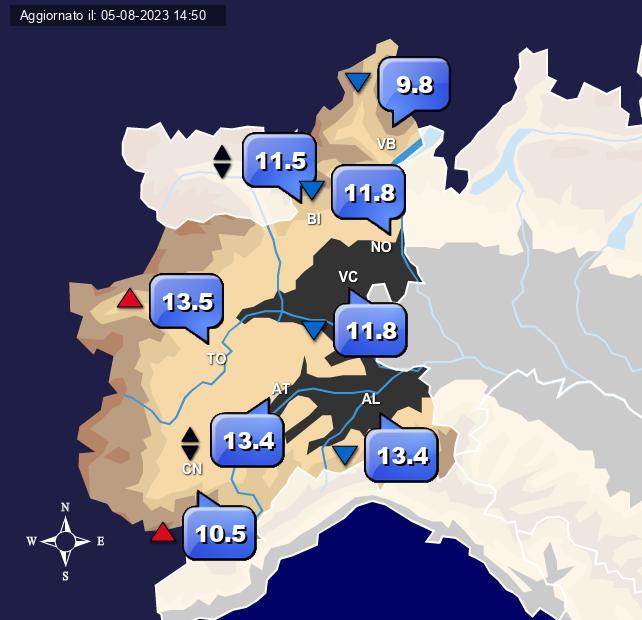 Temperature Piemonte Centro Meteo Italiano