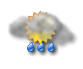 Mattina: cielo irregolarmente nuvoloso con rovesci moderati di pioggia