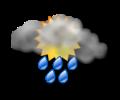Mattina: cielo irregolarmente nuvoloso con forti rovesci di pioggia