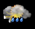 Mattina: irregolarmente nuvoloso con piogge e temporali moderati