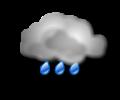 Pomeriggio: cielo coperto con pioggia di intensita moderata o localmente forte