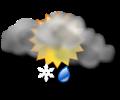 Mattina: cielo irregolarmente nuvoloso con pioggia e neve