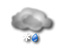 Mattina: copertura nuvolosa compatta con pioggia, neve o pioggia mista a neve