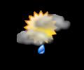 Pomeriggio: cielo parzialmente nuvoloso con occasionali brevi rovesci di pioggia