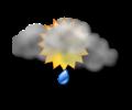 Mattina: cielo irregolarmente nuvoloso con rovesci di pioggia