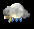 Notte: irregolarmente nuvoloso con piogge e temporali moderati
