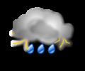 Notte: molto nuvoloso o coperto con piogge molto abbondanti o forti temporali