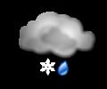 Sera: cielo molto nuvoloso o coperto con pioggia e neve