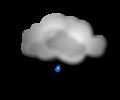 Notte: cielo coperto con qualche episodio di debole pioggia o pioviggine