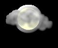 Notte: cielo irregolarmente nuvoloso con nubi sparse alternate a schiarite