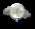 Notte: cielo irregolarmente nuvoloso con rovesci di pioggia