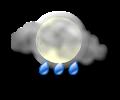 Sera: cielo irregolarmente nuvoloso con rovesci moderati di pioggia