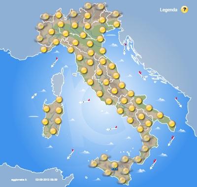 Meteo Italia Cartina.Mappe Previsionali Italia Martedi 3 E Mercoledi 4 Settembre 2013 Cmi