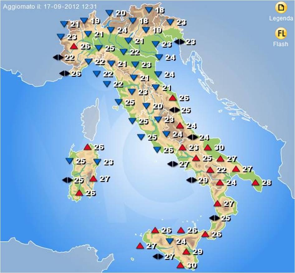 Italia con il maltempo mercoled sensibile diminuzione for Eventi piemonte domani