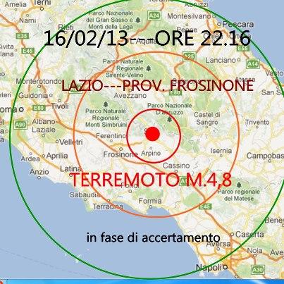 Terremoto a Sora in Ciociaria. Magnitudo 4.8. Fonte immagine: www.terremotinews24.com