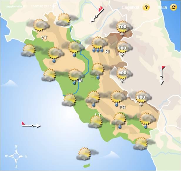 Instabilita nel Lazio ed Sora oggi pomeriggio 17 02 2013. Meteo Lazio CMI.