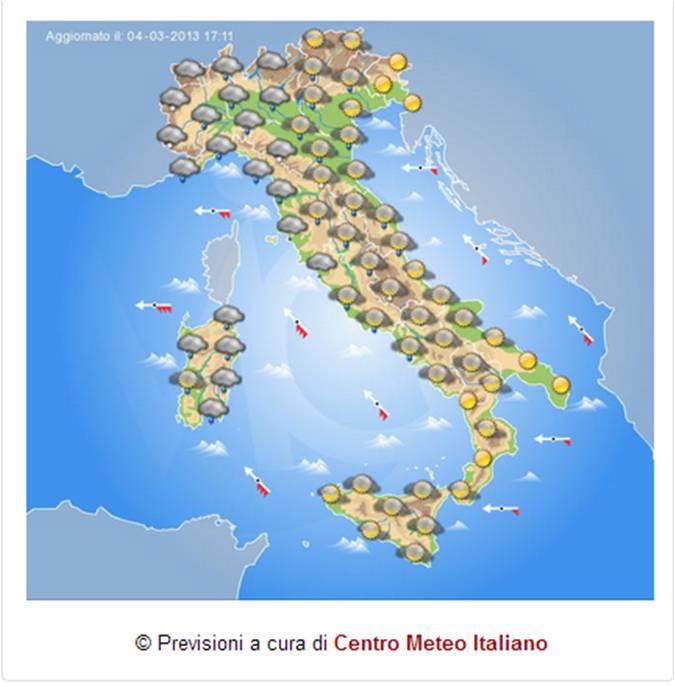 Italia domani peggioramento a partire dal nord ovest bel - Meteo bagno di romagna domani ...