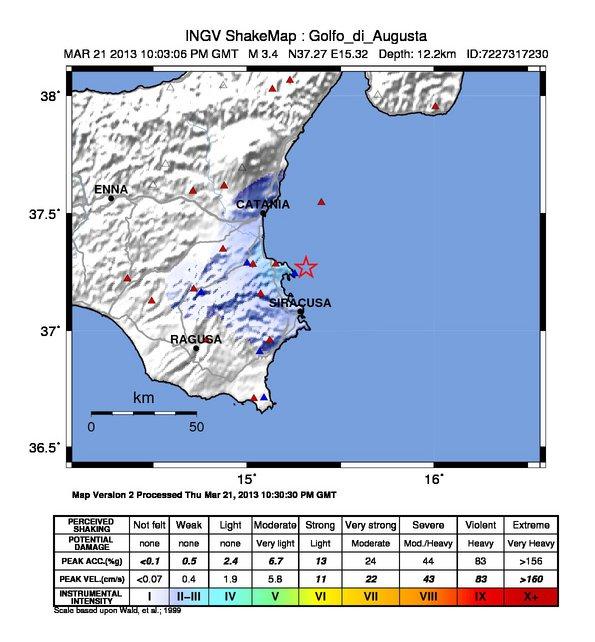 Intenso sisma sicilia orientale la mappa dello scuotimento sismico la mappa dello scuotimento al suolo prodotta dallingv e relativa al terremoto di ieri altavistaventures Images