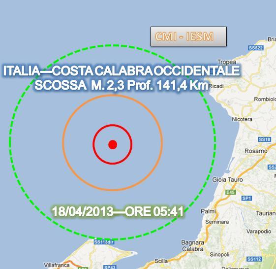 Terremoto oggi Calabria 18 Aprile 2013