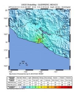 Shake map dell'USGS