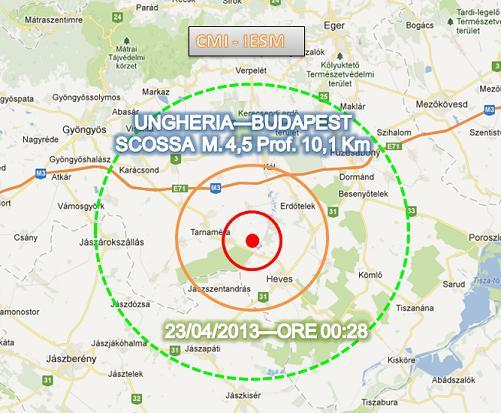 Terremoto oggi Ungheria 23 Aprile 2013
