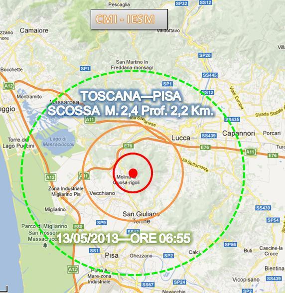 Terremoto oggi Toscana 13 Maggio 2013