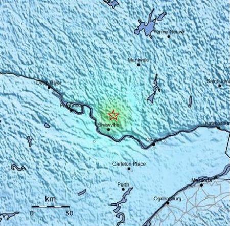 La mappa dello scuotimento sismico del terremoto avvenuto in  Ontario in mattinata ore italiane, fonte: USGS