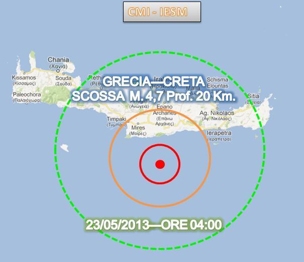 Terremoto oggi Creta 23 Maggio 2013