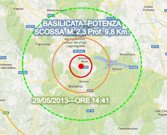 Terremoto oggi Basilicata 29 Maggio 2013