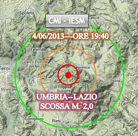 La mappa della scossa avvertita poco fa a confine tra Lazio ed Umbria