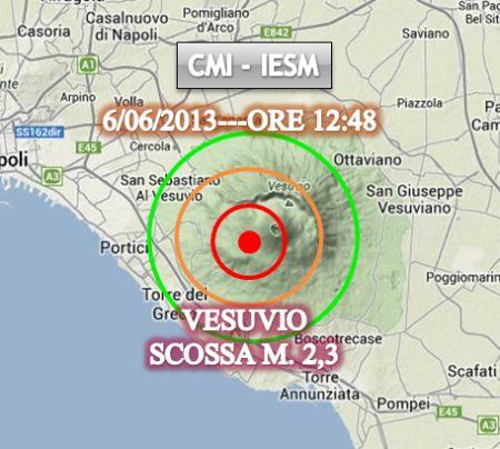 La mappa del sisma avvenuto oggi pomeriggio nel Vesuvio