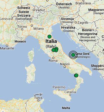 La mappa dei terremoti avvenuti oggi in Italia - fonte: sezione Terremoti del Centro Meteo Italiano
