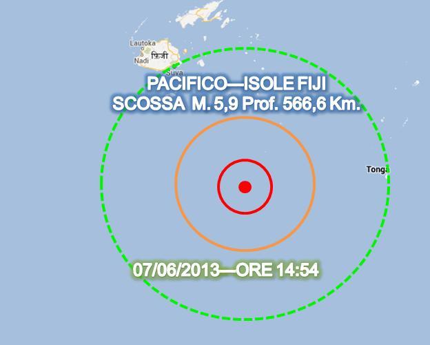 Terremoto Isole Fiji oggi