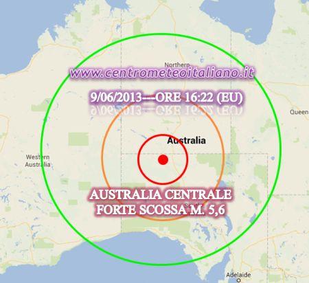 La mappa del terremoto avvenuto poco fa in Australia, ore 16:22 italiane