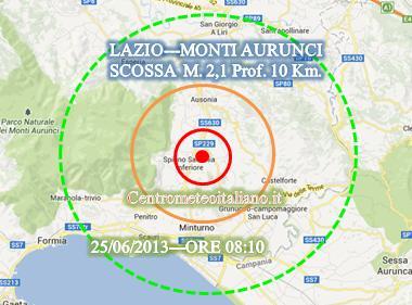 Terremoto oggi nel Lazio