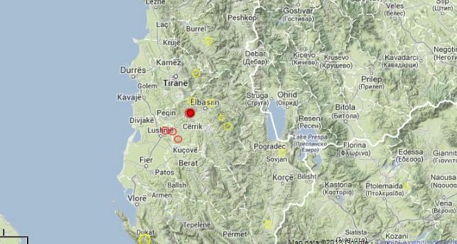 serie di terremoti vicino la costa Adriatica in Albania, fonte Csem-Emsc
