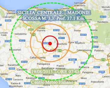 Terremoto oggi Sicilia 19 Agosto 2013