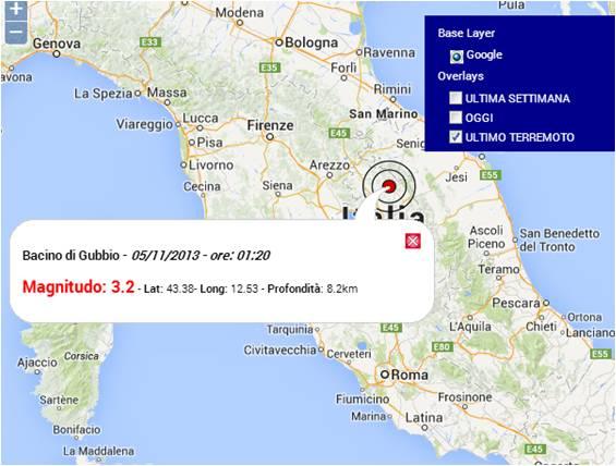 Terremoto oggi Umbria bacino di Gubbio. Sezione terremoti Centro Meteo Italiano