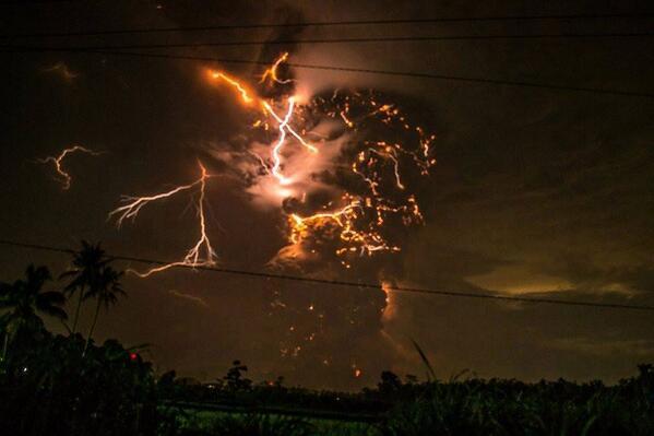 Spettacolare immagini dell'eruzione del vulcano Kelut (Twitter)