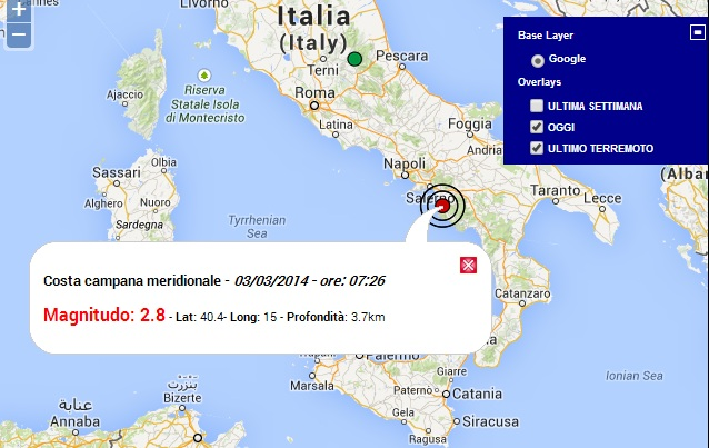 terremoto oggi campania 3 marzo 2014