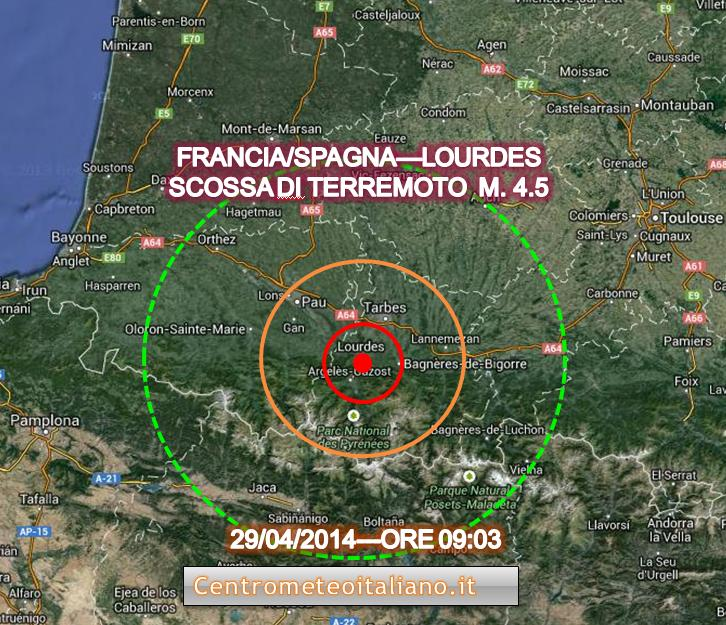 Terremoto oggi Lourdes
