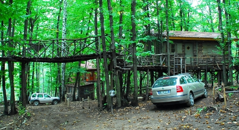 Villaggio di case sugli alberi abitato si trova in for Case in legno sugli alberi
