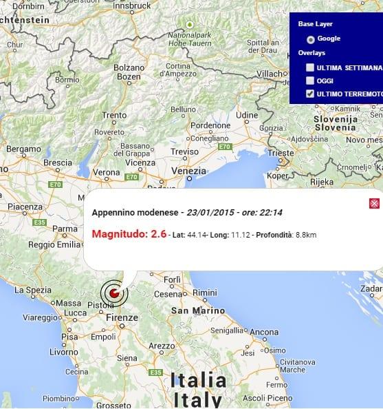 Terremoto Oggi Emilia Romagna  23 Gennaio 2015  Altra