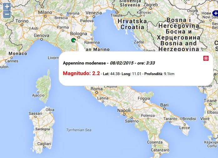 Terremoto oggi emilia romagna 8 febbraio 2015 scossa m 2 for Oggi in romagna