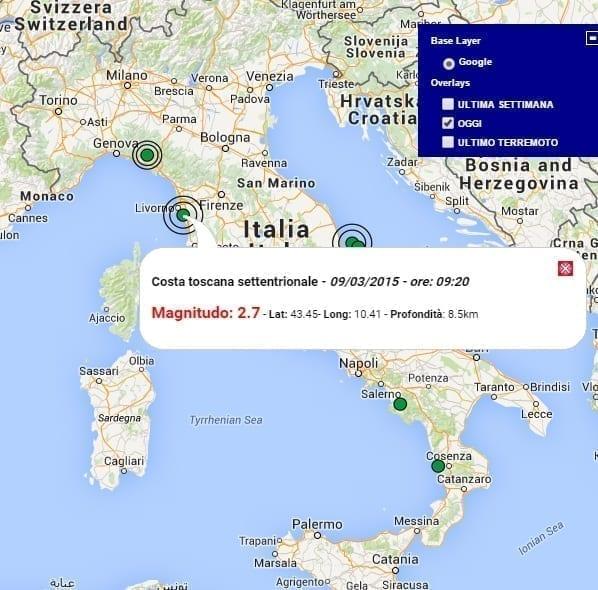 Terremoto oggi Italia, 9 Marzo 2015, scosse in Toscana ...