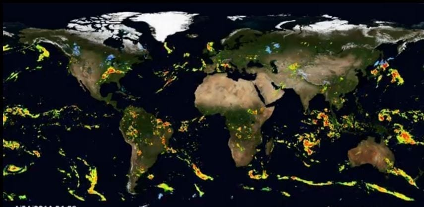 Cartina Satellitare Mondo.La Mappa Di Piogge E Neve Sulla Terra Le Immagini Del Satellite Nasa