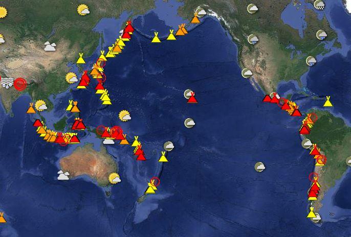 Cartina Vulcani Nel Mondo.Almeno 40 Vulcani In Eruzione Nello Stesso Momento Nel Mondo
