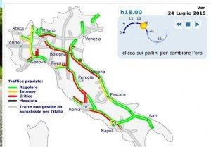 Previsioni traffico autostrade oggi 25 e domani 26 luglio for Traffico autostrade in tempo reale