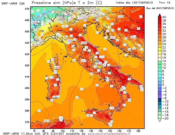 Temperature sull'Italia nel pomeriggio di oggi 17 Settembre 2015