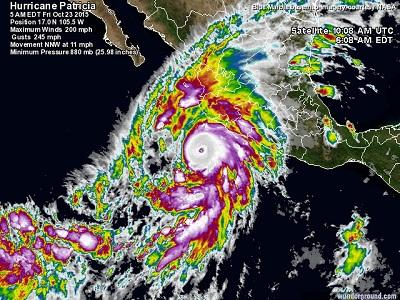 Uragano Patricia il sistema categoria 5 è in arrivo sul Messico con raffiche prossime ai 400 kmh